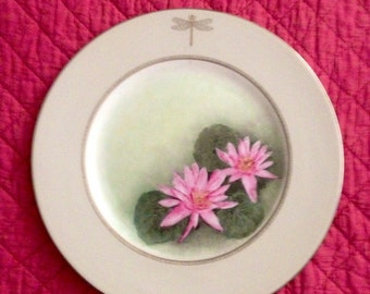 Water lilies on porcelain plate