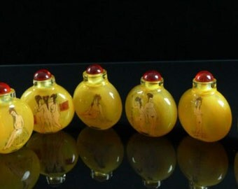 Rare collection de 6 Snuff Bouteilles Chinoise dans la boîte !!! ( Voir Porcelaine Chinoise )