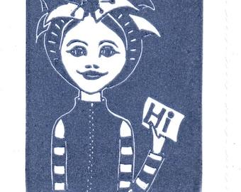 Linocut Art Card - Hi