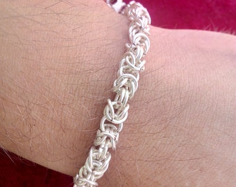 Byzantine chainmaille silver-plated bracelet