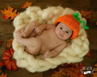 Baby Pumpkin Hat, Pumpkin Crochet Hat, Pumpkin Photo Prop, Fall Photo Prop, Toddler Pumpkin Hat, Child Pumpkin Hat, Fall Baby Photo Prop