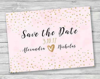 Pink & Gold Save the Date