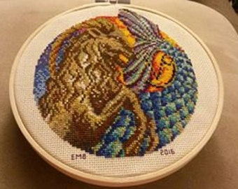 Capricorn Completed Cross Stitch