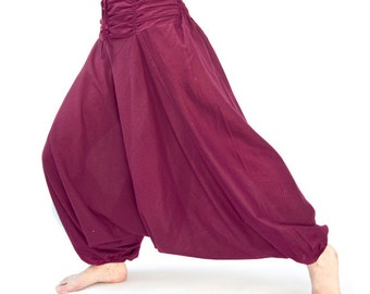 Harem pants made of cotton, unisex in magenta