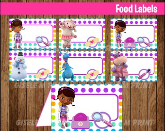 Doc McStuffins Food Labels, Printable Doc McStuffins food tent cards, Doc McStuffins party food cards instant download