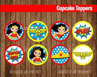 Wonder Woman cupcakes toppers, Printable Wonder Woman toppers, Wonder Woman party toppers instant download
