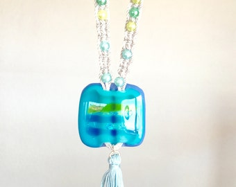 Turquoise Fused Glass Necklace
