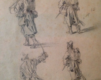 Four Military Studies, 1866, Graphite on paper