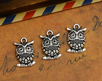 30PCS--17x12mm ,Owl Charms, Antique Silver Bird Wise Owl Charm pendant, DIY supplies,Jewelry Making JAS0033