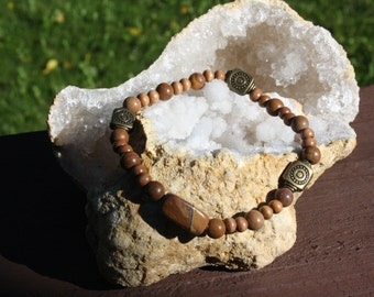 Tigerskin Jasper and Wood Bracelet