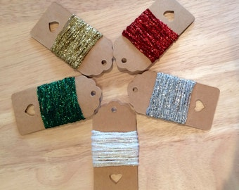 1mm Metallic String - Gold - Silver - Red - Green - White -  Christmas -Gift Wrapping - Tinsel String - Embellishments - Sparkle String