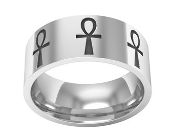 Ankh Band Ring, Silver Ankh Ring, Ankh Jewelry, Egyptian Symbol Ring, Key of Life Ring, Wedding Band Ring, Engagement Ring, Engraved Ring