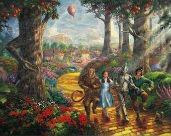Wizard Of Oz Follow The Yellow Brick Road - Kinkade - HD A4 Glossy Poster Print