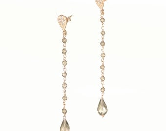 Rose gold plated 925 sterling silver Rosary-earrings smoky quartz & drop quarzofume.
