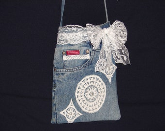 Upcycled Denim Crossbody Purse with Pearl and Lace Embellishment
