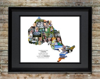 Ontario Canada Photo Collage - Canadian Picture Collage - Shape of Ontario - Canada Map - Ontario Art - Ontario Decor - Ontario Wall Art