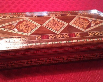 Decorative Handcrafted Wooden Box with Mother of Pearl Inlay