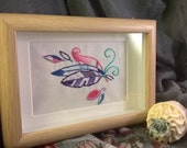Feathers  dreamcatcherboho chic spiritual hand embroidered picture