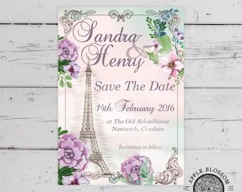 Paris Romantic Floral Vintage Inspired Save The Date Printable