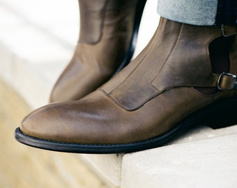 """Man olive natural leather boots """" Monk shoe """""""