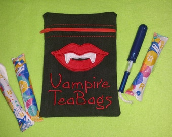 Vampire Tea Bags Cosmetics/Tampon Bag. Fantastic for CSPs, reusable Sanitary Towels + Moon Cups with wipeable waterproof lining