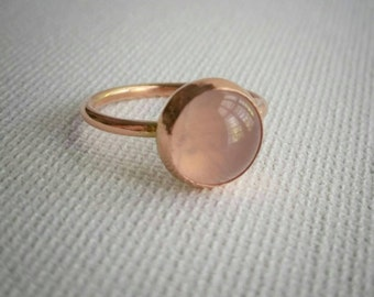 Rose Quartz and Copper Ring, Womens Cabochon Bezel Set Ring, Bohemian Rose Quartz and Copper Ring, Womens Bezel Set Ring