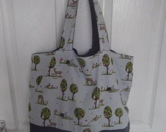 Women's  Blue Woodland AnimalTote bag