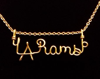 L.A. Rams Necklace. Gold Stainless Steel Necklace. Los Angeles Rams Chain, NFL