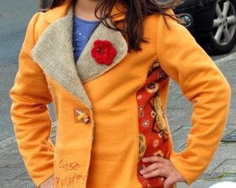 Maizgelb girls Blazer jacket with fur lapel collar. Gr. 158-162