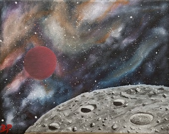 8×10 in. Original outer space oil painting on canvas with nebula, galaxy, planet, moon, and stars. Colorful gases, beautiful craters.