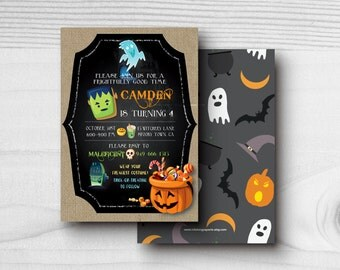 Printable Halloween Birthday Invitation Costume Party Trick or Treat Boy or Girl Spooky Corn Candy Monsters