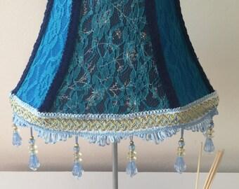 Blue upcycled vintage style lampshade