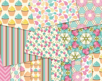 Bakery Digital Papers, Digital Scrapbook Papers - 12 x12 - 300 DPI ,commercial use, scrapbook papers,