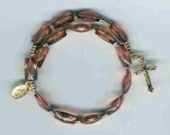 Brown rectangular bead 1-decade coil rosary bracelet