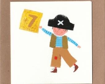 Pirate boy holing map