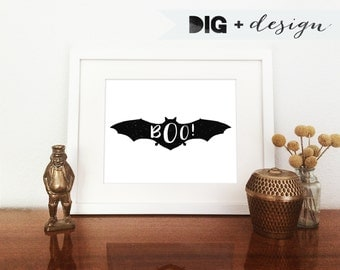 Batty BOO! Minimal Halloween Bat Art Print