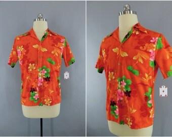 Vintage 1960s Hawaiian Shirt / 60s Aloha Shirt / Men's Shirt / Mid-Century Menswear / Neon Orange Hawaiian Print / Royal Hawaiian