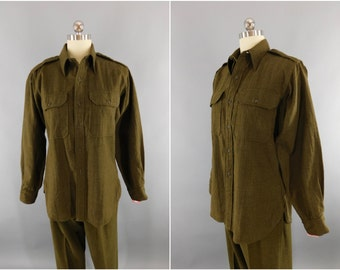 Vintage 1940s WWII Army Shirt / 40s WW2 Issue Wool Men's Shirt / Officer's Shirt / OD Combat Fatigues / Military Shirt