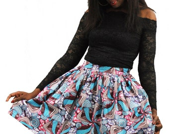 Colorful turquoise and pink floral print African fabric skirt