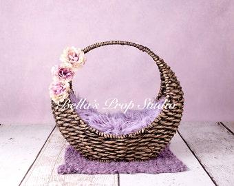 Newborn Digital Backdrop | Purple | Wicker Basket