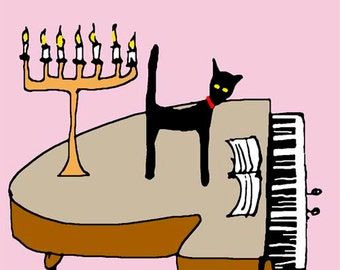 CAT and GRAND PIANO. Greetings card with black cat.