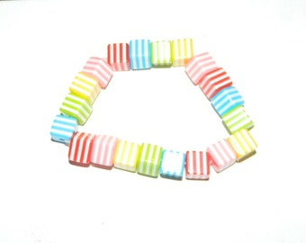 BB Square Pink, Orange, Green and Yellow Striped Bracelet