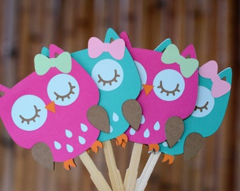 12 Owl Cupcake Toppers, Owl birthday party, Girls Party, Baby shower, Owl Theme Party, Cupcake Toppers, Birthday Party, Owl Toppers