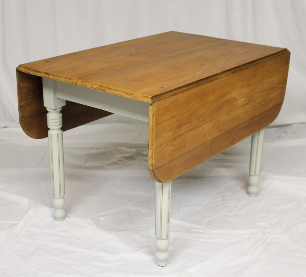 Dining Table With Leaf: Antique Drop Leaf Dining Table White Paint Varnished Oak