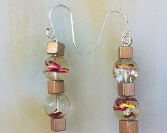 Gold Glass Dangle Earrings