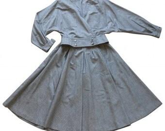 Nina Ricci : grey cotton skirtsuit, size M, vintage 70s