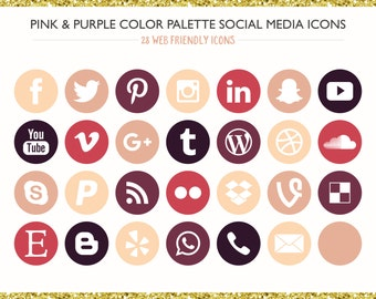 560 Social Media Icons! Pink & Purple Color Palette- PNG files- Digital Download- Blog/Wordpress/Web/Email Friendly