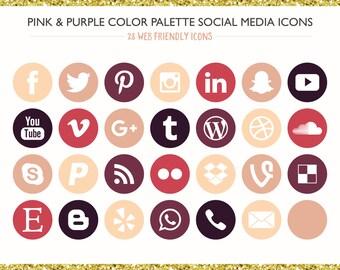 560 Social Media Icons! Pink & Purple Color Palette- PNG files- Digital Download- Blog/Wordpress/Web/Email Friendly