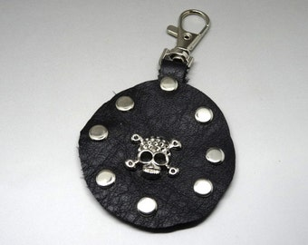 door round key rock studded leather black and silver