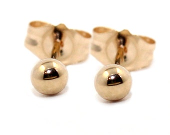 Genuine pure solid 9k yellow gold 3mm ball studs earrings